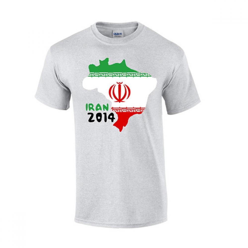 Iran 2014 land vlag T-shirt (grijs)