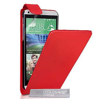 HTC Desire 816 Leather-Effect Flip Case - Red