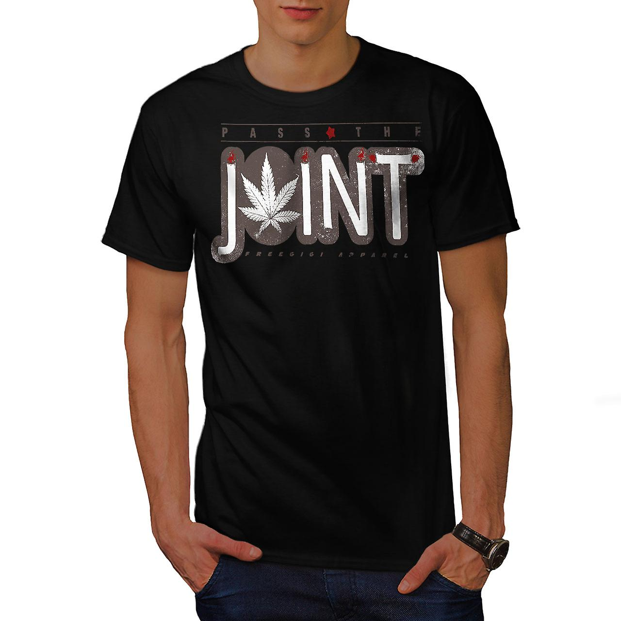 Pass The Joint Weed Rasta Men Black T-shirt | Wellcoda