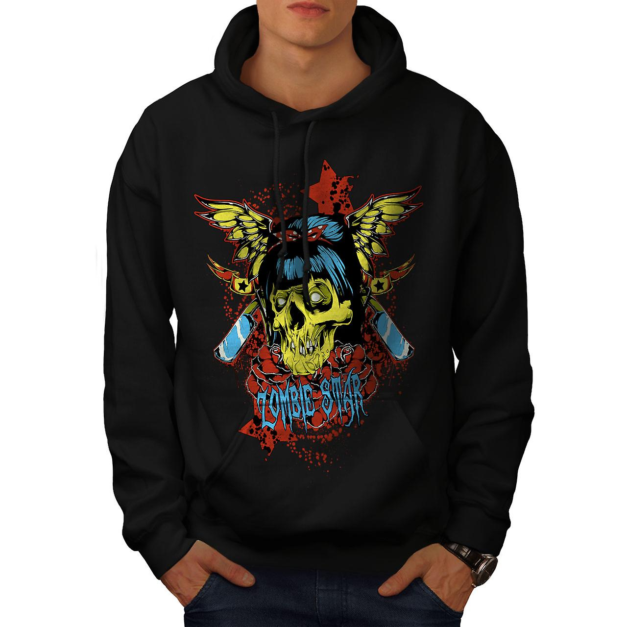 Star Butterfly Zombie Men Black Hoodie | Wellcoda