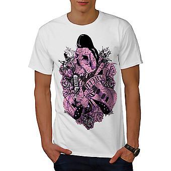 Rock N Roll Skull Männer WhiteT-Shirt   Wellcoda