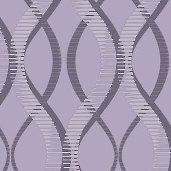 Modern Geometric Wallpaper Uptown Embossed Vinyl Textured Glitter Effect Purple