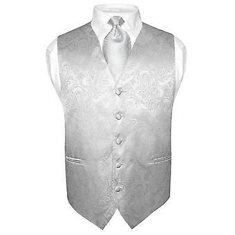 Paisley diseño vestido chaleco y corbata cuello corbata conjunto de hombres