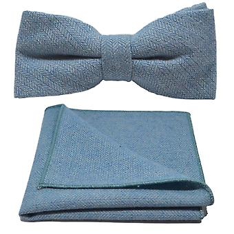 Sky Blue Herringbone Bow Tie & Pocket Square Set