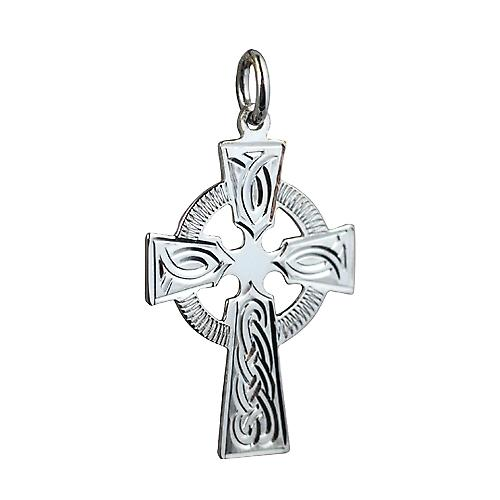 Silver 28x20mm hand engraved knot design Celtic Cross
