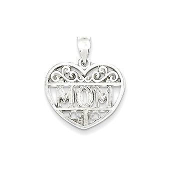 925 Sterling Silver Filigree Mom Heart Charm Pendant - 24mm