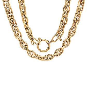Damas 18K oro acero inoxidable plateado racimo cadena enlace collar