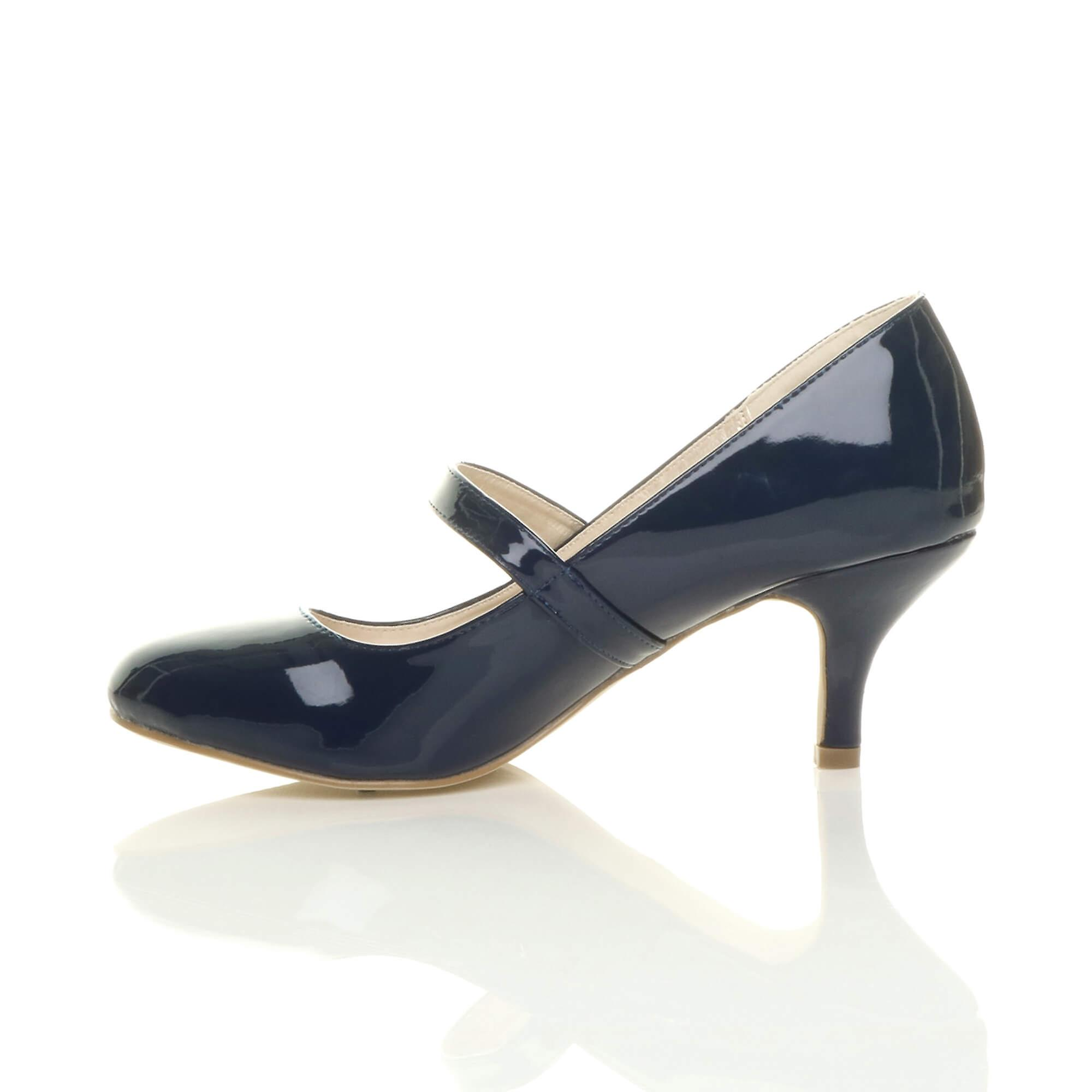 low party mid shoes strap Ajvani heel jane mary pumps womens work court gOaqwxq5S