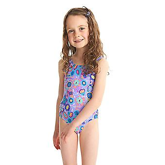 ZOGGS Girls Wild Scoopback Swimsuit - Lilac/Multi