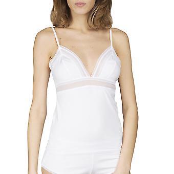 Maison Lejaby 17473-03 Women's Cottone-Moi White Cotton Spaghetti Vest Top