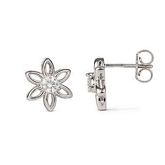 Forever Classic 3.25mm Round Moissanite Flower Stud Earrings