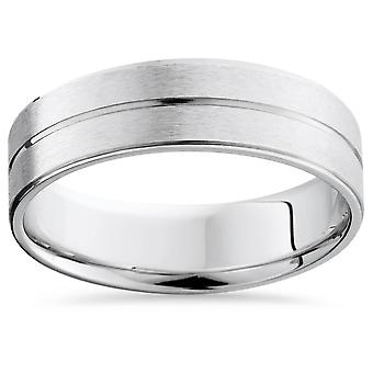 Mens 14K White Gold Flat Comfort Fit Wedding Ring Band