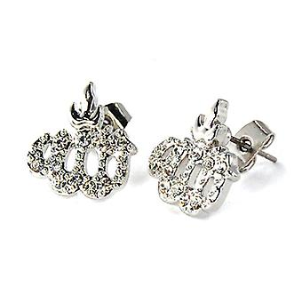 Iced Out Bling Ohrstecker Box - ALLAH silber 12mm