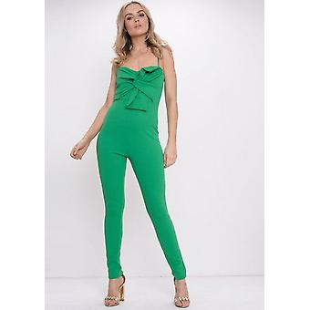 Bow Front Strappy Jumpsuit Green