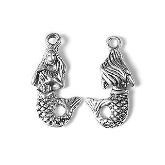Packet 20 x Antique Silver Tibetan 22mm Mermaid Charm/Pendant ZX08420
