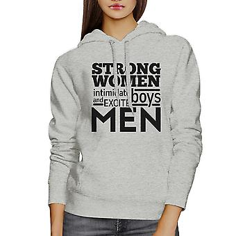 Strong Women Unisex Grey Pullover Hoodie Funny Fitness Gym Top Gift
