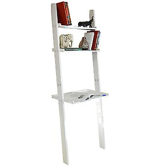 Oates - Ladder 3 Tier Wall Storage Shelves With Desk - Gloss White