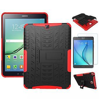 Hybrid Outdoor Tasche Rot für Samsung Galaxy S2 9.7 SM T810 + 0.4 Hartglas