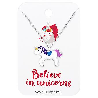 Unicorn Necklace On Believe In Unicorns Card - 925 Sterling Silver Sets - W35926x
