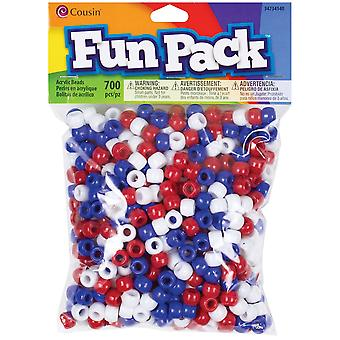 Fun Pack Acrylic Pony Beads 700/Pkg-Red, White & Blue