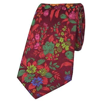 Posh and Dandy Flowers Luxury Silk Tie - Red/Green
