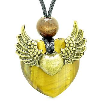Engel vinger dobbelt heldig hjerte Donut Amulet magiske kræfter Tiger øje vedhæng halskæde