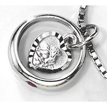 Children christening ring with Guardian Angel 333 Gold White Gold 1 Ruby Red baptism pendant