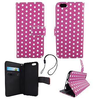 Handyhülle Tasche für Handy Apple iPhone 6 / 6s Polka Dot Lila Weiss