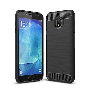 Samsung Galaxy J4 Hülle Silikon Schwarz Carbon Optik Case TPU Handyhülle Bumper 211778