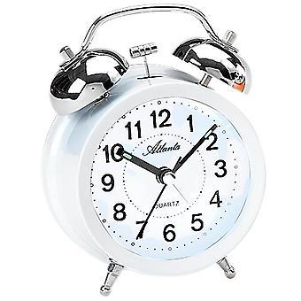 アトランタ 1743/0 警報ベル目覚まし時計ツイン ベル目覚まし時計クォーツ ホワイト静かな光