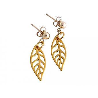Leaf earrings gold plated leaf earrings