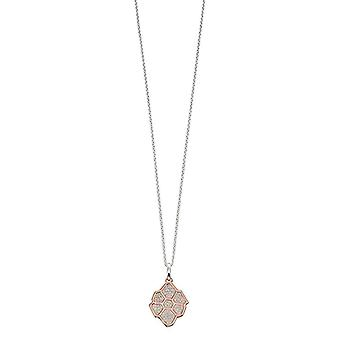 Elements Silver Pave Wing Pattern Pendant - Silver/Rose Gold/Clear