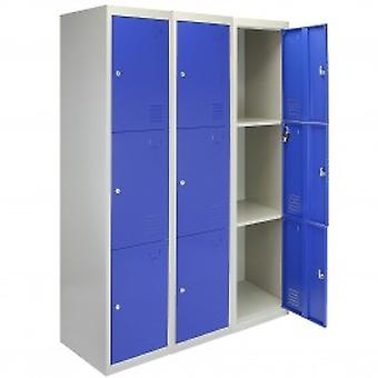 3 x Metal Storage Lockers - Three Doors, Blue - Flatpack