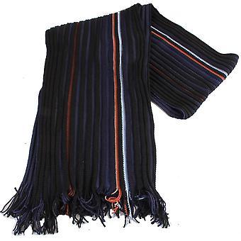 Bassin and Brown Kenyon Striped Wool Scarf - Navy/Black/Orange