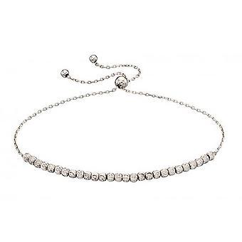 Elements Gold Diamond Cut Beads Adjustable Bracelet - White Gold