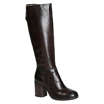 Heeled knee high boots in dark brown lux leather handmade