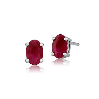 Gemondo 9ct White Gold 1.13ct Genuine Ruby 4 Claw Set Oval Stud Earrings 6x4mm