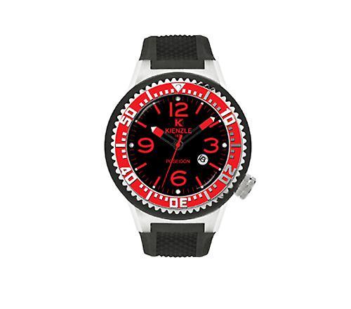 Waooh - Guarda Kienzle 720 3048 - Bracciale in silicone nero - quadrante nero - Black & Metal Box - Red Bezel & silver