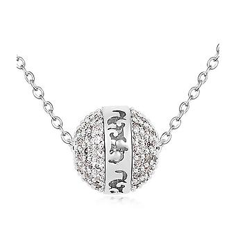 Cubic Zirconia white crystal ball necklace and Rhodium plate