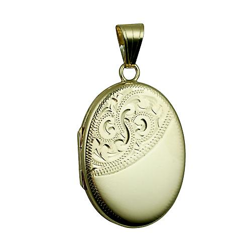 9ct Gold 26x19mm half hand engraved flat oval Locket
