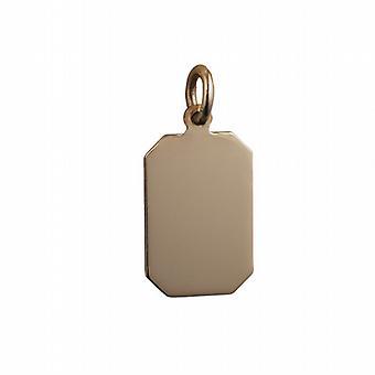 9 ct ゴールド 18x12mm 普通のカット角長方形ディスク