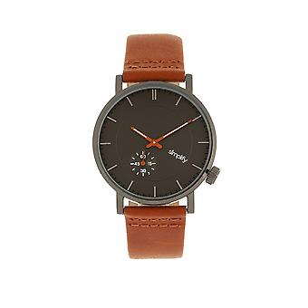 Simplify The 3600 Leather-Band Watch - Charcoal/Orange