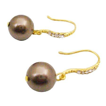 Pearl Earrings in Brown Swarovski Pearl Dangling 22k Gold Plated