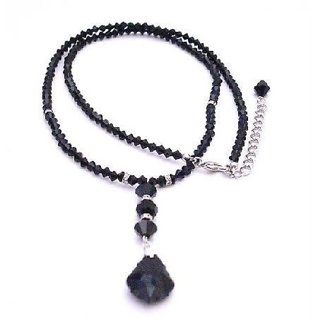 Fashion Jewelry Has Vast Collecion Swarovski Collection Find 24 Inches Long With Back Drop Down Necklace Black Crystal