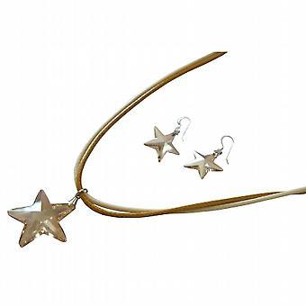 Golden Shadow Crystals Star Pendant Swarovski Earrings Jewelry Set