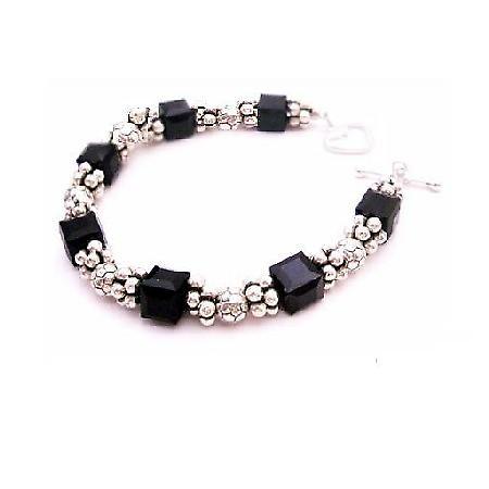 Prom Jewelry Sparkling Crystals Bracelet Jet Cube Bali Silver Bracelet