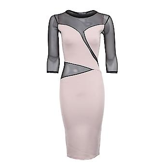 New Ladies 3/4 Sleeves Mesh Insert Slim Effect Women's Bodycon Dress