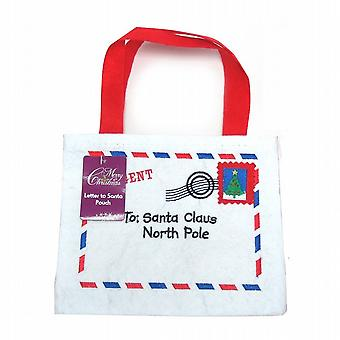 Felt Letter To Santa Claus Father Christmas Bag With Handle White Pack Of 2 (XA6254)