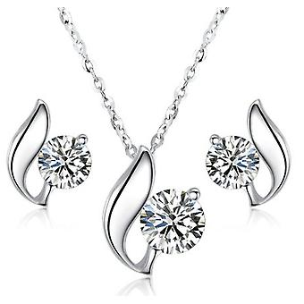 925 Silver Solitaire Swirl Necklace With Matching Earrings