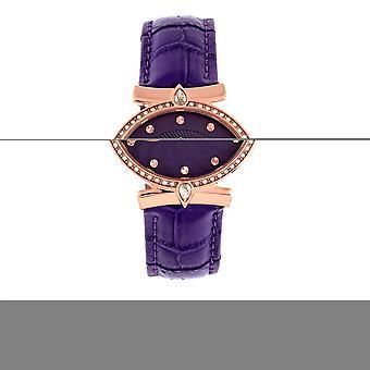 Empress Edith Semi-Skeleton Leather-Band Watch - Purple